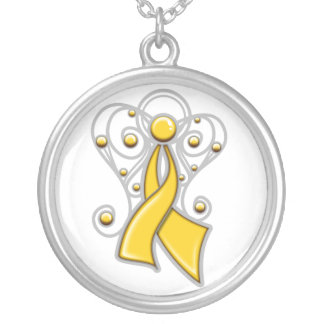 Childhood Cancer Ribbon Angel In Memory Round Pendant Necklace