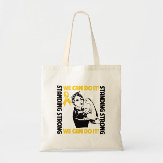 Childhood Cancer Standing Strong We Can Do It Budget Tote Bag