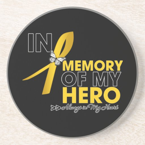 Childhood Cancer Tribute In Memory of My Hero Beverage Coasters