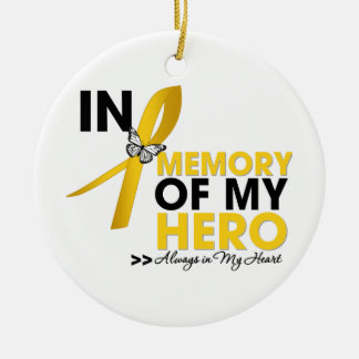 Childhood Cancer Tribute In Memory of My Hero Christmas Ornaments