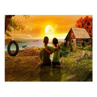 Childhood Loving Memories Friendship Postcards