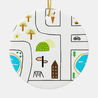 Childhood Map Ceramic Ornament