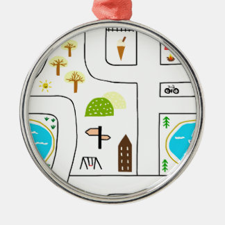 Childhood Map Metal Ornament