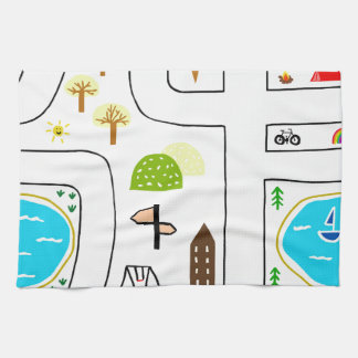Childhood Map Tea Towel