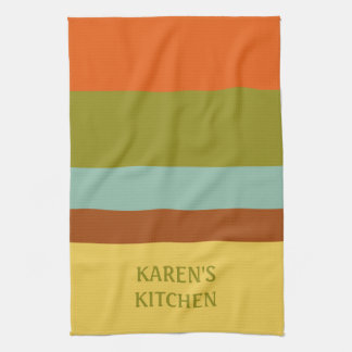 Childhood Vacation Palette Stripe Personalized Tea Towel