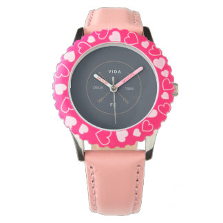 Childish clock of hearts rose color watch