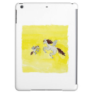 Childish Watercolor drawing with Winged Horses