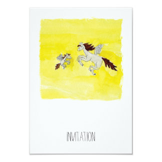 Childish Watercolor drawing with Winged Horses Card