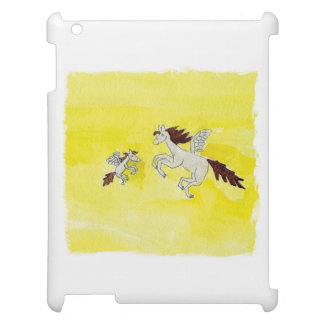 Childish Watercolor drawing with Winged Horses Case For The iPad 2 3 4