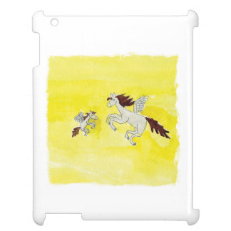 Childish Watercolor drawing with Winged Horses iPad Cover