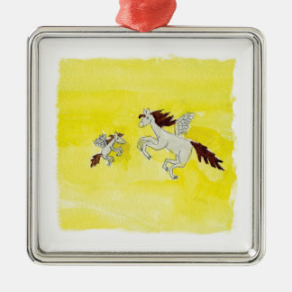 Childish Watercolor drawing with Winged Horses Metal Ornament