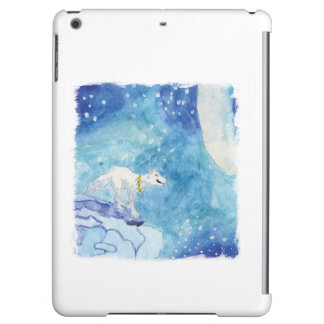 Childish Watercolor painting with snowy wolf