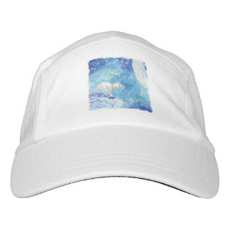 Childish Watercolor painting with snowy wolf Hat