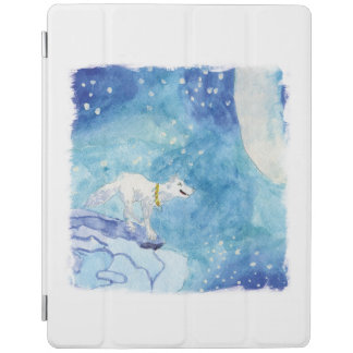 Childish Watercolor painting with snowy wolf iPad Cover