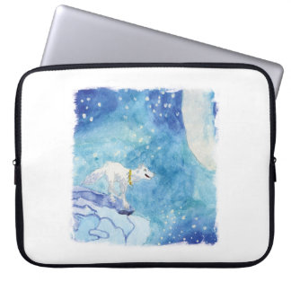 Childish Watercolor painting with snowy wolf Laptop Sleeve