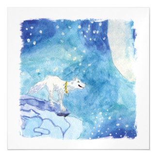Childish Watercolor painting with snowy wolf Magnetic Invitations