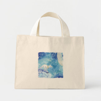 Childish Watercolor painting with snowy wolf Mini Tote Bag