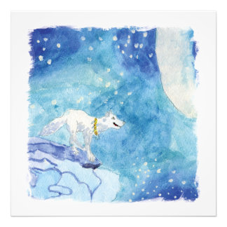 Childish Watercolor painting with snowy wolf Photo Print