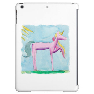 Childish Watercolor painting with Unicorn horse