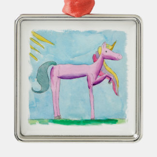 Childish Watercolor painting with Unicorn horse Metal Ornament
