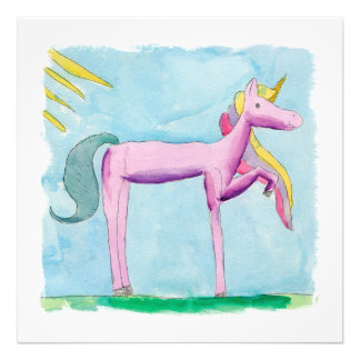Childish Watercolor painting with Unicorn horse Photo Print