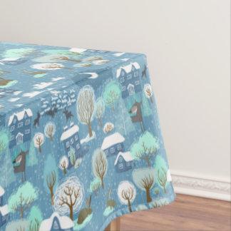 Childlike Winter Scene In Blues  Cotton Tablecloth