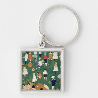Children, 1908 Silver-Colored square key ring