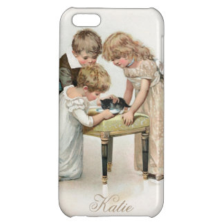 Children and Cat Vintage Case For iPhone 5C