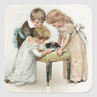 Children and Cat Vintage Square Sticker
