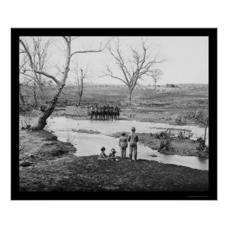 Children and Cavalry Officers at Bull Run 1862 Poster