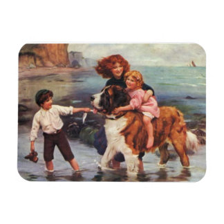 Children and Saint Bernard at the Beach, Rectangular Photo Magnet