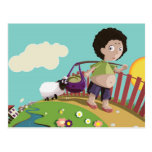 children and the sheep post card