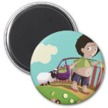 children and the sheep refrigerator magnets