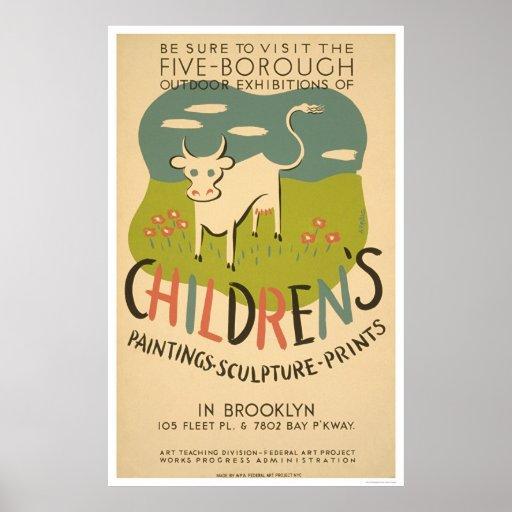 Children Art Brooklyn 1938 WPA Poster