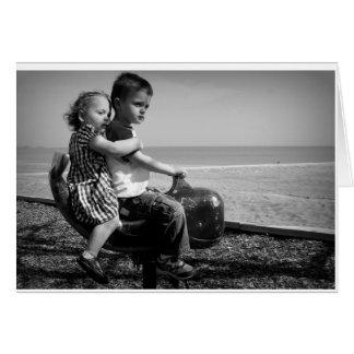 Children at the beach card