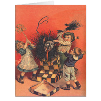 Children Beating Krampus Jack-In-A-Box Card