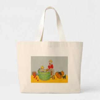 Children Bobbing For Apples Jack O' Lantern Jumbo Tote Bag