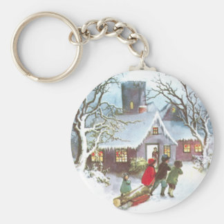 Children Bring Home Yule Log Vintage Christmas Basic Round Button Key Ring