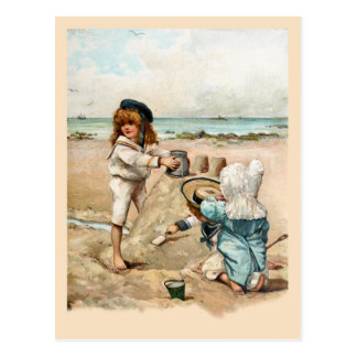 Children Build Vintage Sandcastle Postcard