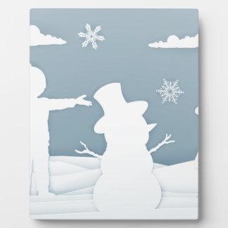 Children Building Snowman Paper Art Style Plaque