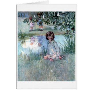 Children by a Pond, Card