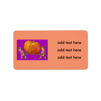 Children Carrying Giant Pumpkin Purple Address Label