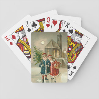 Children Christmas Tree Church Frozen Pond Snow Playing Cards