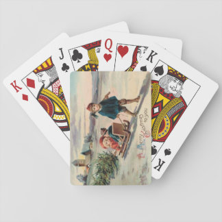 Children Christmas Tree Sled Sleigh Playing Cards