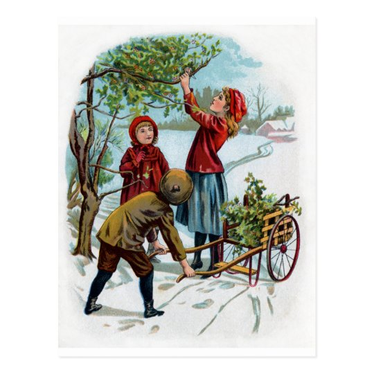 Children Collecting Holly in Winter Postcard