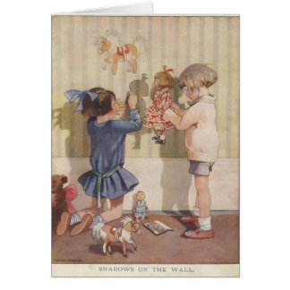Children Creating Wall Shadows, Card