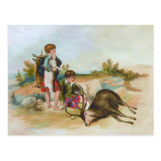 Children Deer Hunting in the Scottish Highlands Postcard