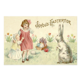Children Easter Bunny Basket Colored Eggs Art Photo