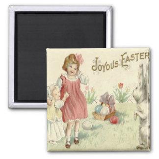 Children Easter Bunny Basket Colored Eggs Magnet