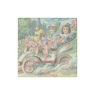 Children Easter Chick Vintage Car Floral Stone Magnet